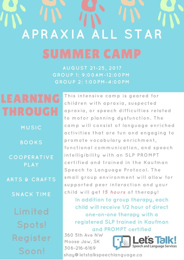 2017 Moose Jaw Apraxia Summer Camp